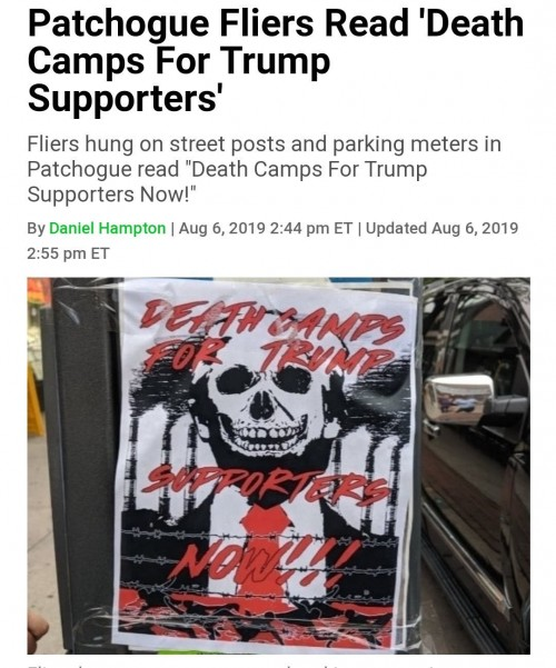Death Camps to all Trump Supporters - Fliers in New York