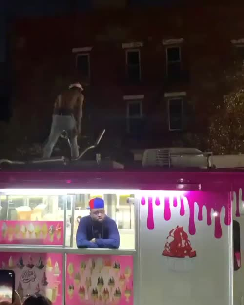 Man uses a flamethrower on top of a #NYC Bus - View from the Ground