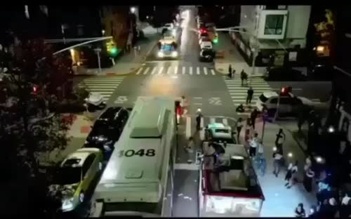 Man uses a flamethrower on top of a #NYC Bus